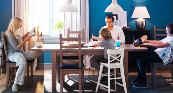 dunkel blau wnde esszimmer familie ikea idee aktuell hngelampe