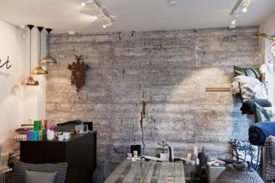 einzigartig kollektion von betontapeten wohnzimmer goldene hängelampen