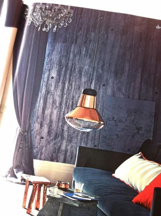 Sammlung von Betontapeten grau hängelampe samtsofa wohnzimmer