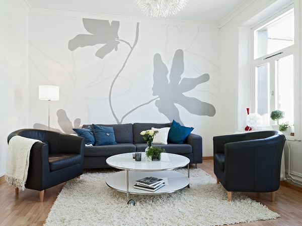 elegant-wanddekoration grau blätter