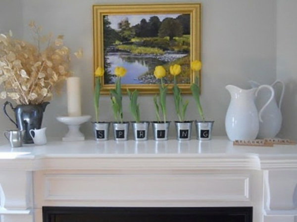 elegante deko kamin gelbe tulpen