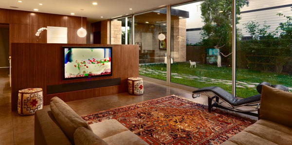 elegantes Wohnzimmer Design Ausblick Ecksofa