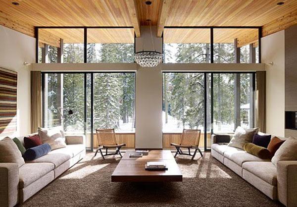 elegantes Wohnzimmer Design Ausblick Sofas Kaffeetisch