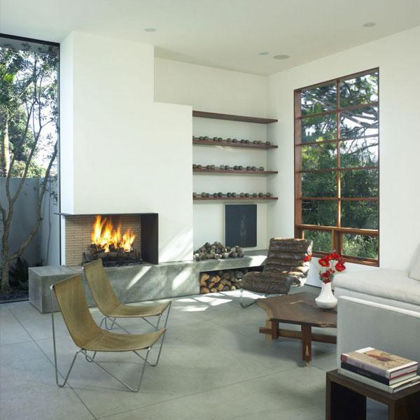 elegantes Wohnzimmer Design Ausblick Stühlen Kamin