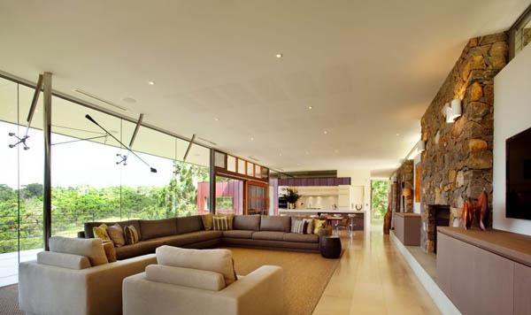 elegantes Wohnzimmer Design Ausblick fantastisches Ecksofa