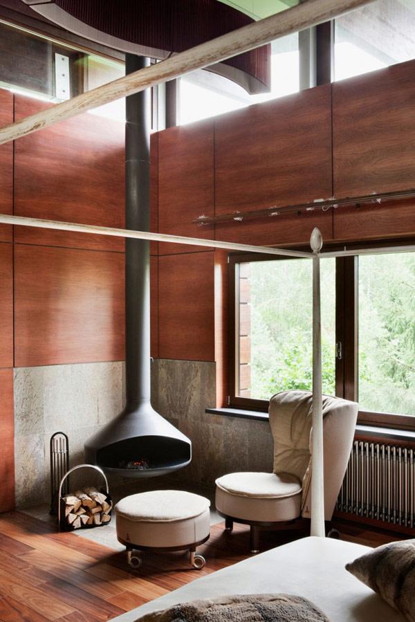 Moderne Haus Design Idee   Eine Kombination aus Stein, Holz und grauem Hochglanz