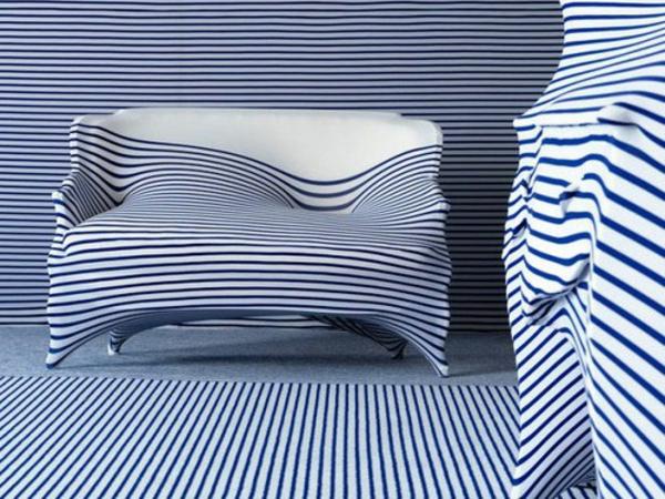 elegantes interieur design idee gualtier streifen blau weiß