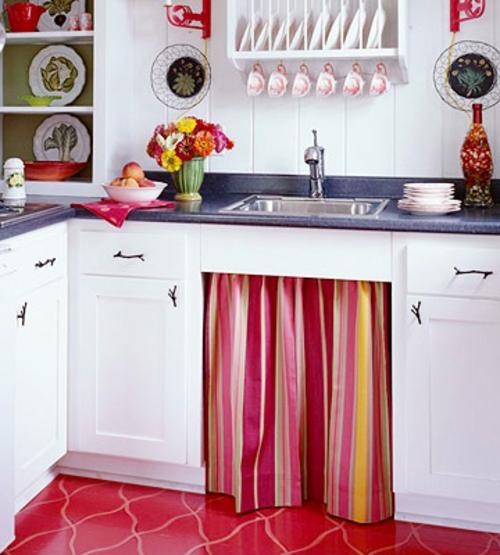 erneuerung der küche bunte streifen weiß küchenarbeitsplatte spülbecken