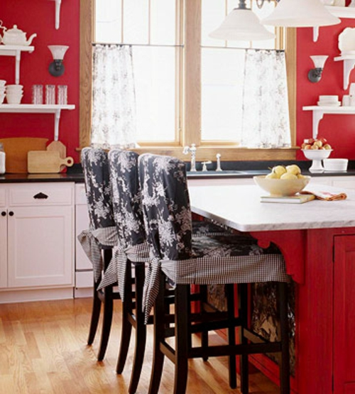 erneuerung der küche rot grell wand weiß küchenmöbel