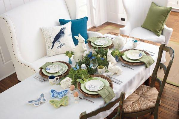erstaunliche frühlingsdekoration esszimmer osterhasen blau schmetterlinge weiß tischdecke