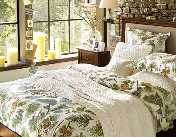 erstaunliche frühlingsdekoration schlafzimmer bettdecke floral elemente