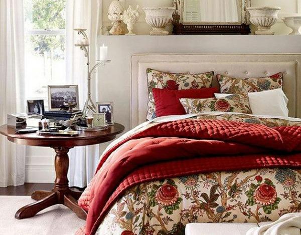 erstaunliche frühlingsdekoration schlafzimmer rot bettdecke elegant seitentisch