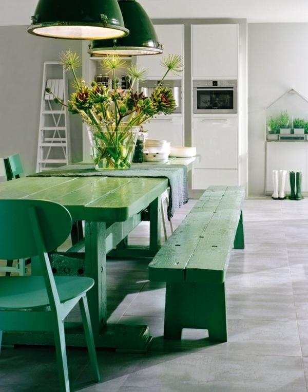 essecke dekoration frühling rustikal grün ausstattung