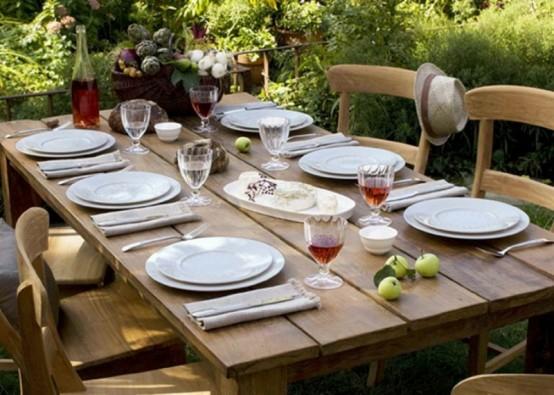 essecke garten mittagessen holz essmöbel französisch stil rustikal