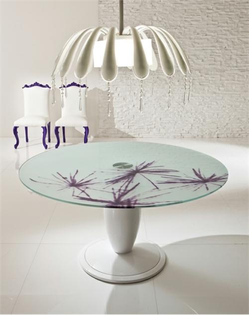 esszimmer einrichtung moda simfonie14 rund tisch lila stuhle glasscheibe