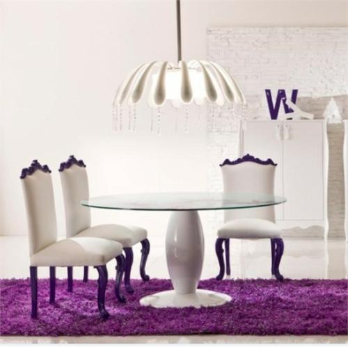 esszimmer einrichtung moda simfonie14 teppich lila weiß tisch rund
