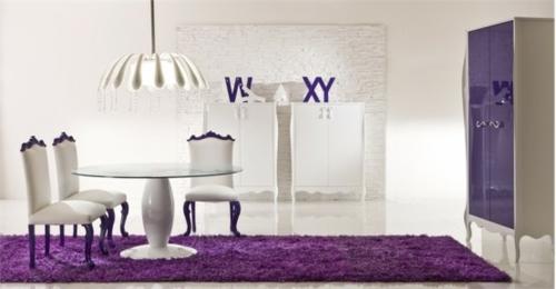 esszimmer einrichtung moda sinfonie14 teppich lila weiß