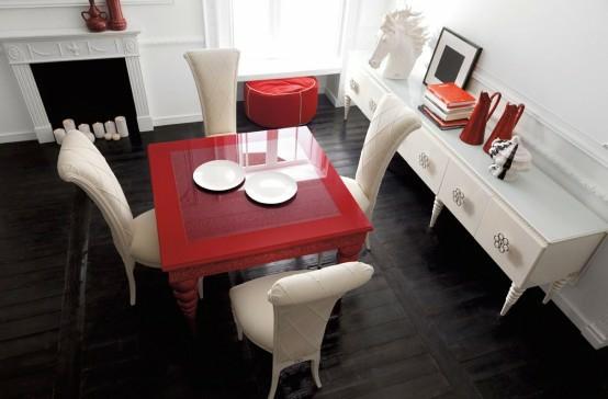 esszimmer einrichtung rot weiß essbereich luxus