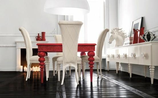 esszimmer einrichtung rot weiß italienisches design