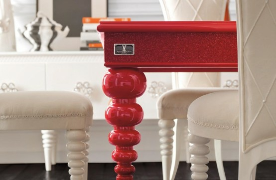 esszimmer einrichtung rot weiß tisch bein element