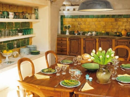 esszimmer französisch bäuerlich gelb grün  frühlingsfrische küchenspiegel