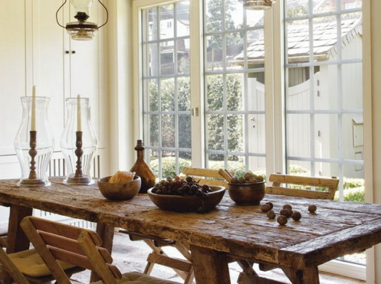 esszimmer französisch stil idee design holz tisch stühle