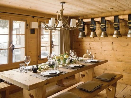 esszimmer holz wandbelag rustikal stil gebirge französisch