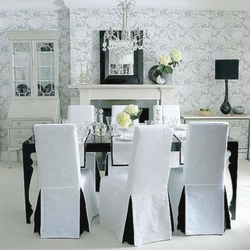 esszimmer interieur stühle blumen tisch deko wandtapete