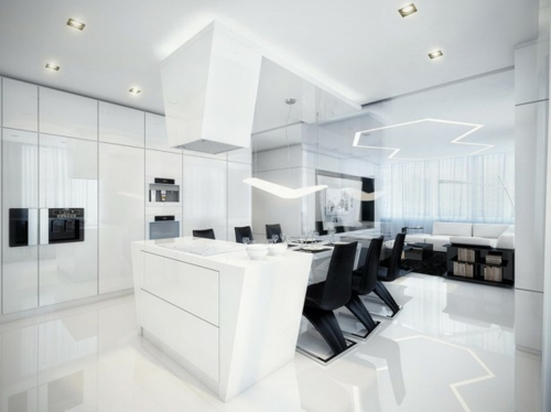 Esszimmermöbel weiß modern  Inneneinrichtung in Schwarz Weiß – 20 Esszimmer Interieurs