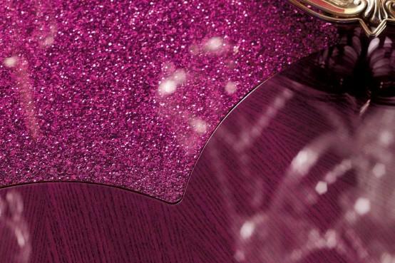 esszimmer interieur luxuriös pink kristallen detail