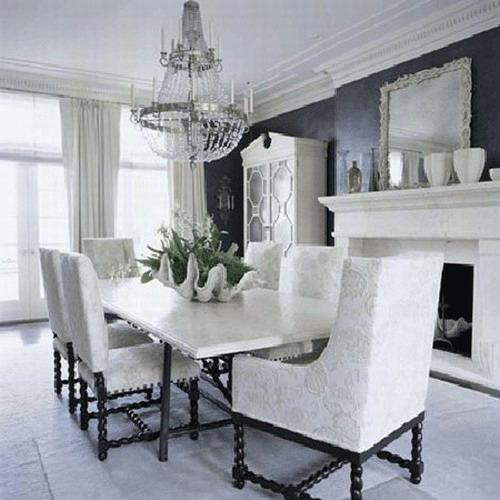 esszimmer interieur schwarz weiß deko vorhänge