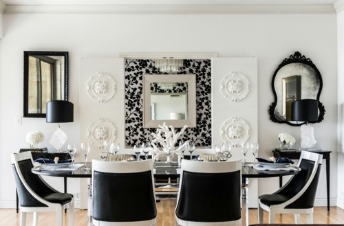 esszimmer interieur schwarz weiß essbereich stühle spiegel