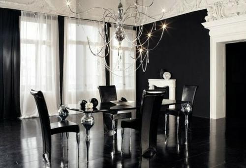 esszimmer interieur schwarz weiß schlicht klar kronleuchter