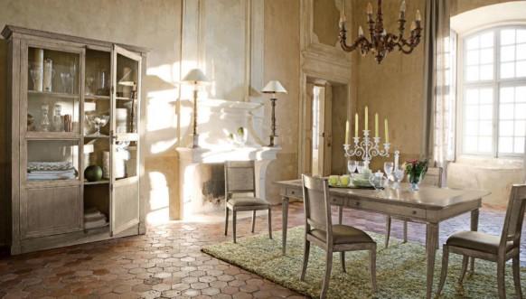 esszimmer mit rustikalen möbeln grün teppich