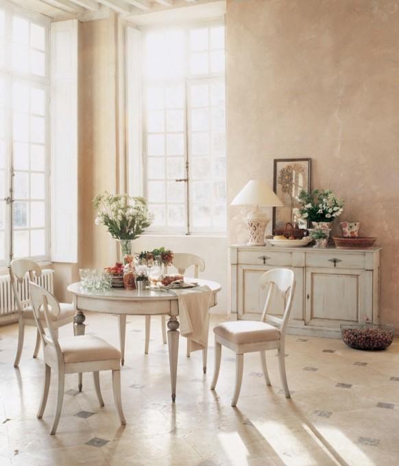esszimmer mit rustikalen möbeln weiß