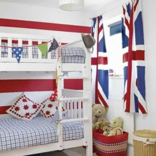etagenbett kariert bettdecke weiß land britisch