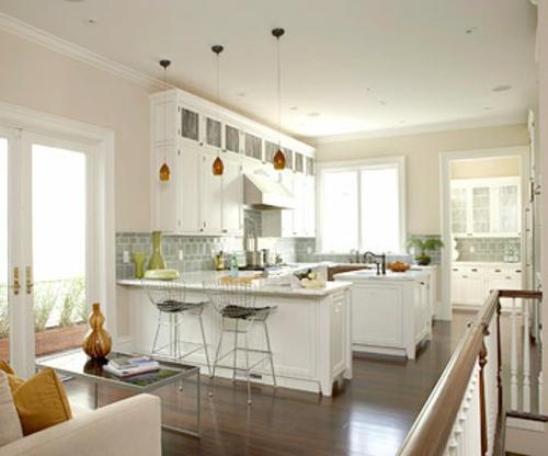extravagant küche arbeitsplatte glanzvoll bodenbelag holz