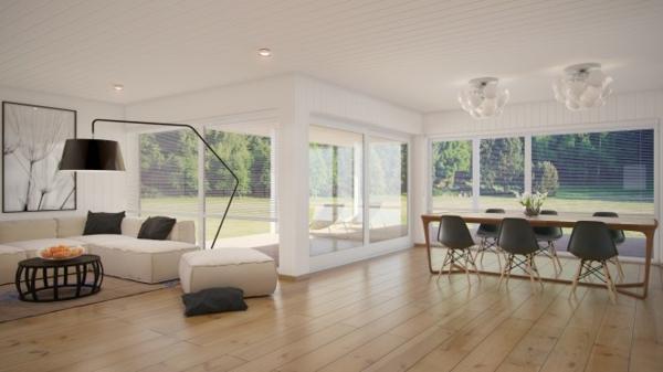 attraktive kombination von wohn und esszimmer. Black Bedroom Furniture Sets. Home Design Ideas