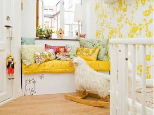 kinderzimmer gelb wei bibkunstschuur. Black Bedroom Furniture Sets. Home Design Ideas