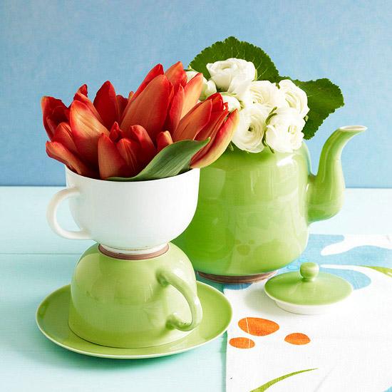 festliche tisch deko tulpen rosen porzellan ostern frühling Dekoration zu Ostern