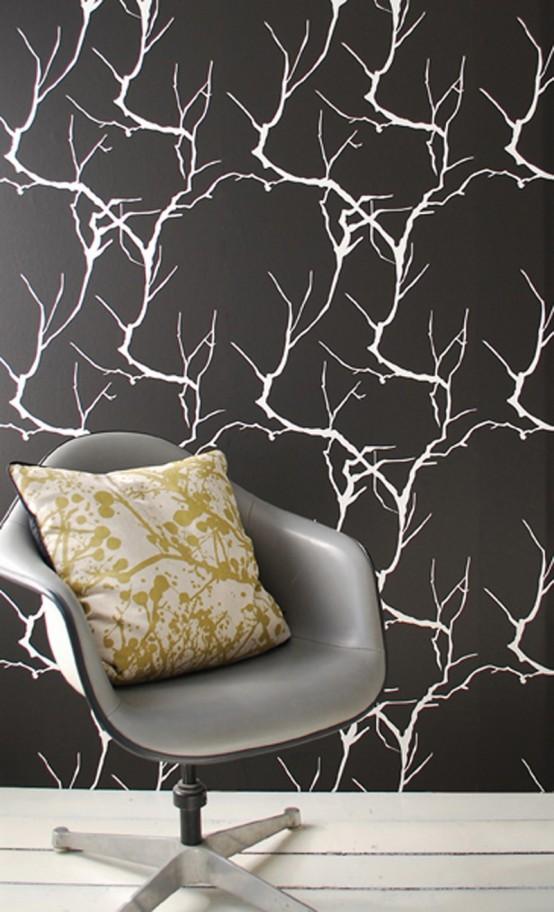 floral dessin abstrakt schwarz weiß wand tapet