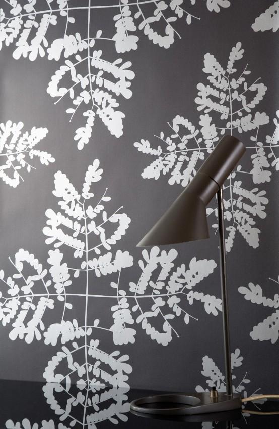 floral dessin elegant grau töne wand tapet schreib tisch
