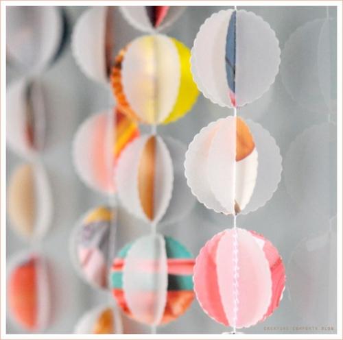 frühjahr deko bunt girlanden papier rund frisch