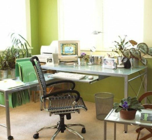 frühjahr einrichtung schreibtisch pflanzen sessel grün blumen