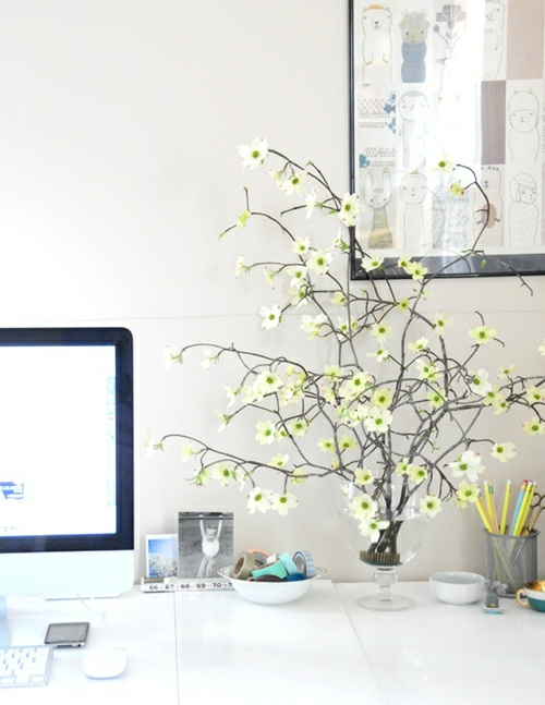 frühjahr einrichtung schreibtisch zweig blüten weiß frisch geordnet pc