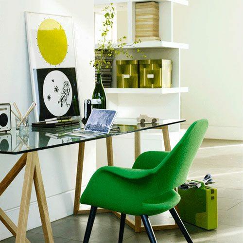 frühjahr einrichtung stuhl grün schreibtisch glas bild kisten