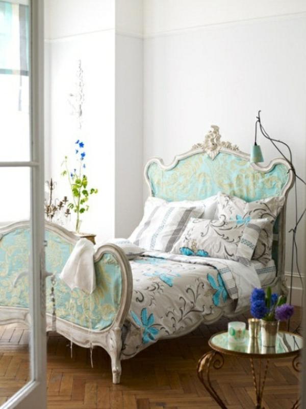 frühling schlafzimmer blau weiß