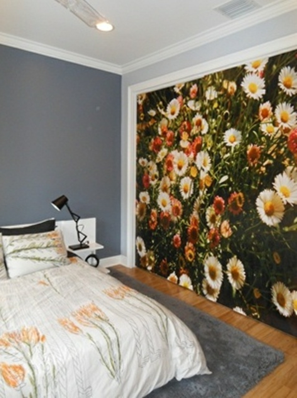 frühlingsdeko im schlafzimmer fototapete margeriten