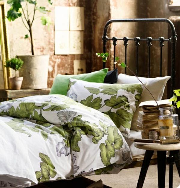 frühlingsdeko im schlafzimmer grün braun