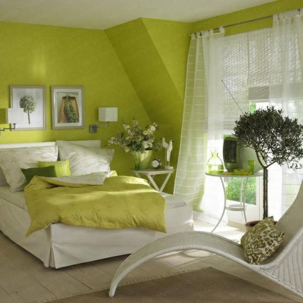 frühlingsdeko im schlafzimmer grün weiß